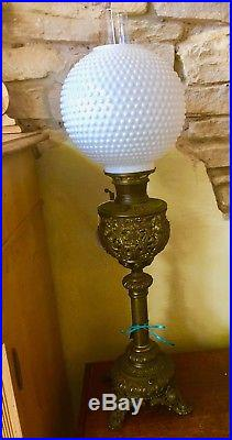 Victorian Brass Lamp with Milk Glass Hobnail Globe Shade