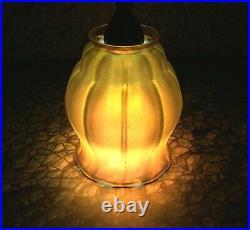 Vintage 13.5 Bradley & Hubbard Harp Lamp Steuben Aurene Art Glass Tiffany Style