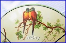 Vintage 1920's/30'S Art Deco Ceiling Light Parrot Glass Shade Lamp Antique