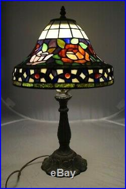 Vintage 1960s 70s Era Leaded Stained Art Glass Dome Shade Electric Table Lamp