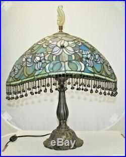 Vintage 1960s 70s Era Leaded Stained Art Glass Shade Electric Table Lamp
