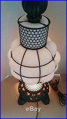 Vintage 3 way PAIR Table Lamps Metal & Milk Glass UNIQUE Medieval Art Deco L@@K