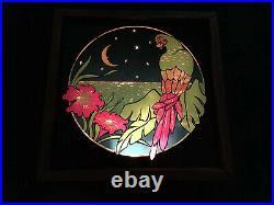 Vintage 70s Fantasia Glitter Graphics Series 7000 Motion Lamp Tropical Parrot