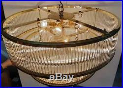 Vintage Antique Art Deco Brass Glass Rod Ceiling Fixture 8 Light Chandelier Lamp
