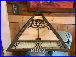 Vintage Antique Arts & Crafts Panel Slag stained Glass Lamp Shade