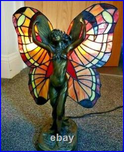 Vintage Art Deco Angel Fairy Tiffany Stained Glass Table Lamp