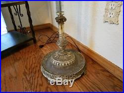 Vintage Art Deco Brass Torchiere Floor Lamp with Etched Crystal Glass Column 1940s