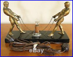 Vintage Art Deco Bronze Metal Male Figures Lighted Glass Ball Machine Age  Lamp