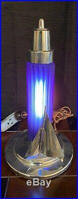 Vintage Art Deco Chrome Sailboat And Cobalt Blue Glass Accent Lamp Light