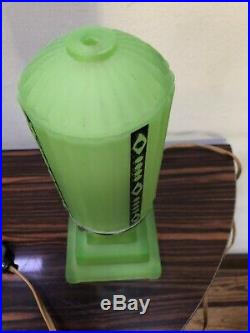 Vintage Art Deco Green Glass Table Lamp Night Light Working Condition