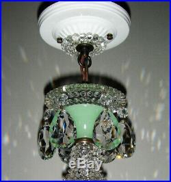Vintage Art Deco Jadeite Green Glass Shade Ceiling Lamp Light Fixture Chandelier