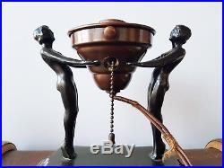 Vintage Art Deco NUDE FIGURAL TABLE LAMP with GLASS SHADE Bronze Spelter 1930s