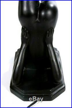 Vintage Art-Deco Nouveau Nude Woman Black Table Lamp 27 x 11 Glass Globe