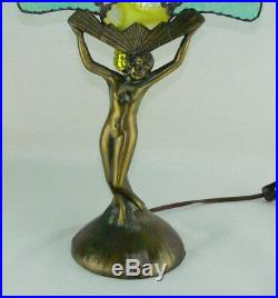 Vintage Art Deco Nude Woman Lady Figural Bronze Lamp Stained Glass Fan Shade