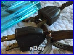 Vintage Art Deco Skyscraper Torpedo Bullet Boudoir Glass Table Lamp Pair