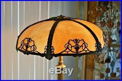 Vintage Art Nouveau 6 Panel Caramel Slag Glass 2 Bulb Lamp Good Condition