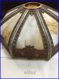 Vintage Art Nouveau 8 Panel Slag Curved Caramel Glass And Metal Lamp Shade