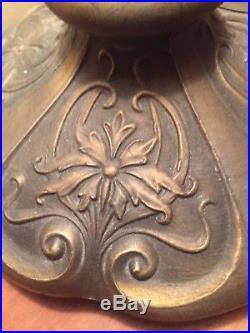 Vintage Art Nouveau Beautiful Colorful Slag Glass Parlor Lamp