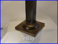Vintage Arts and Crafts 4 Panel Slag Glass Table Lamp