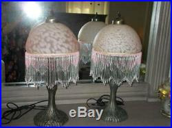 Vintage BOUDOIR TABLE LAMPS pair with art glass beaded shades pink 21.5 tall