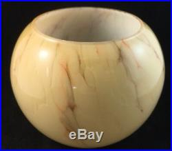 Vintage Bauhaus Table Lamp & Art Deco Caramel Marbled Glass Light Shade Antique