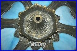 Vintage Blue Slag Glass Shade for Table Lamp 6 Panel Ornate Brass Art&Craft #1