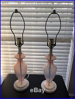 Vintage Blush Pink Murano Italian Optic Art Glass Lamps Marble Base