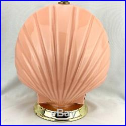 Vintage Clam Shell Table Lamp Reverse Painted Peach Glass 1980s 1990s Art Deco