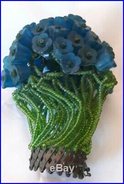 Vintage Czech Bohemian Blue Roses & Beaded Art Glass Bulb Cover Lamp Shade