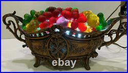 Vintage Czech Colored Art Deco Bohemian Glass Figural Fruit Brasket Lamp
