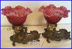 Vintage Fenton Art Glass Cranberry Opalescent Hobnail Boudoir Lamp