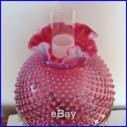 Vintage Fenton Art Glass Cranberry Opalescent Hobnail Lamp With Prisms