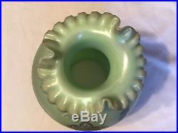 Vintage Fenton Art Glass Floral Interlude On Sea Green Satin Lamp