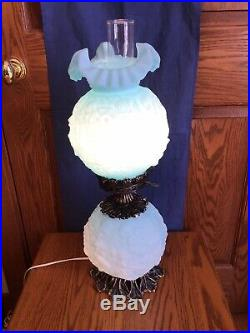 Vintage Fenton Art Glass Satin Pastel Blue Poppy Gone With The Wind Lamp