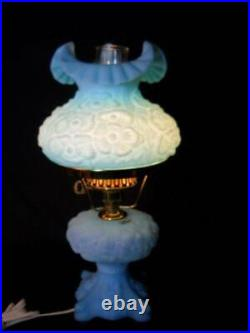 Vintage Fenton Blue Poppy Satin Glass Student Lamp Excellent Condition