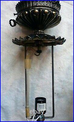 Vintage Fenton Burmese Gone with the Wind lamp, Rose pattern
