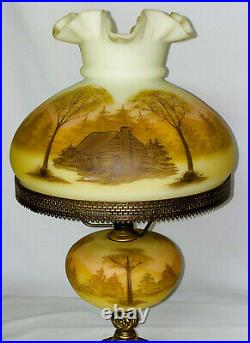 Vintage Fenton CUSTARD WithLOG CABIN 20 TABLE LAMP PAINTED BY D. FREDRICK