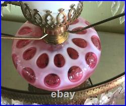 Vintage Fenton Cranberry Opalescent Parlor Lamp Immaculate Original NR