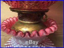 Vintage Fenton Glass Cranberry Opalecent Hobnail 3 Way Gwtw Lamp 23