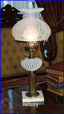 Vintage Fenton Glass Lamp French Opalescent Spiral Optic 20.5 Banker Student