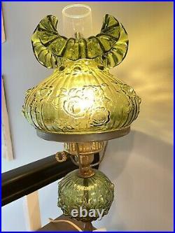Vintage Fenton Green Glass Rose Flowers Student Lamp Marble Base 20.5