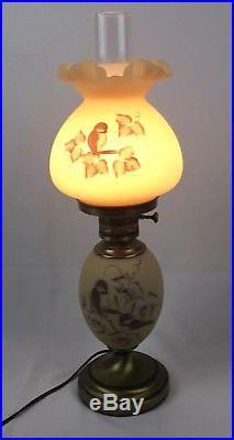 Vintage Fenton Hand Painted Chickadee Lamps