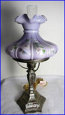 Vintage Fenton Lavender Lamp Hand Painted Flowers Signed S Miller