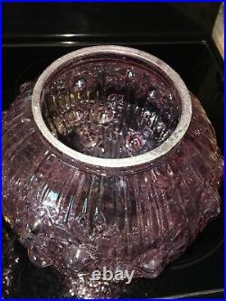 Vintage Fenton Lavender Pink Cabbage Rose Gone With The Wind Lamp
