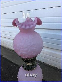 Vintage Fenton Oil Lamp With Pink Puffy Poppy Flowers Rose Large Size Rare
