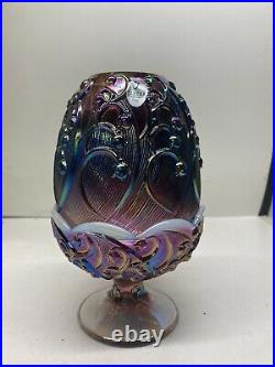 Vintage Fenton Opalescent Carnival Glass Fairy Lamp Lily of the Valley