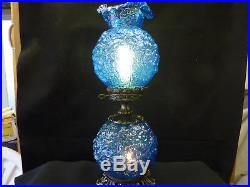 Vintage Fenton Poppy Blue Gone With The Wind Lamp Approximately 24 Tall
