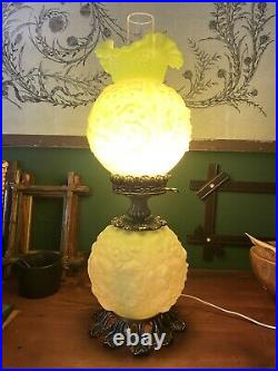 Vintage Fenton Poppy Satin Green Custard Uranium Glass Gone With the Wind Lamp