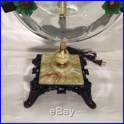 Vintage Fish Bowl Aquarium Tank Holder Light Lamp Art Deco Houze Or Slag Glass