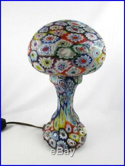 Vintage Fratelli Toso Millefiori Lamp Murano Italian Art Glass Mushroom